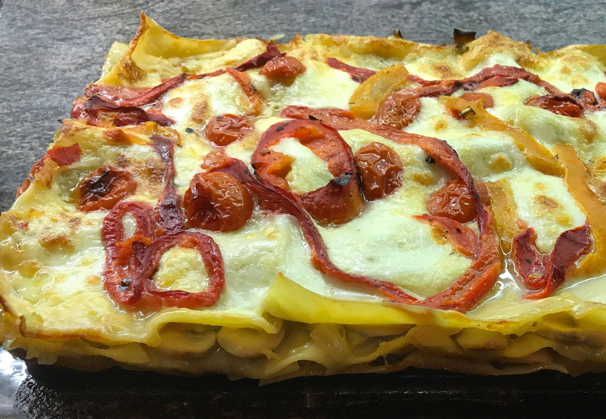 Lasagne met prei, champignons en bechamelsaus