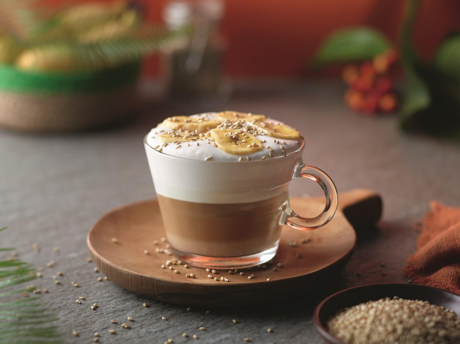 Banaan & sesamzaadjes cappuccino