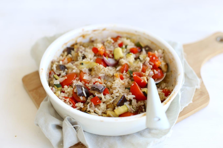 Rijst met aubergine en courgette
