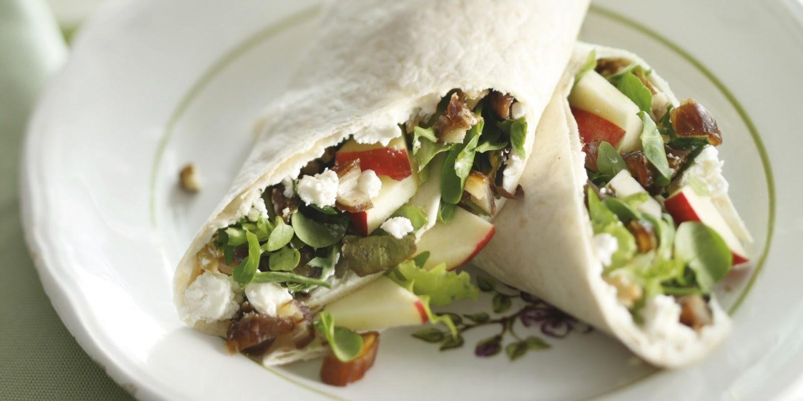 Tortilla wraps met geitenkaas, rucola, walnoten en honing