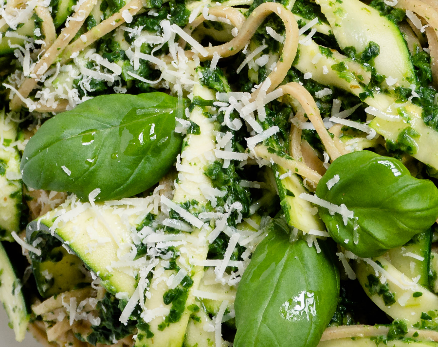 Spaghetti met spinazie a la crème