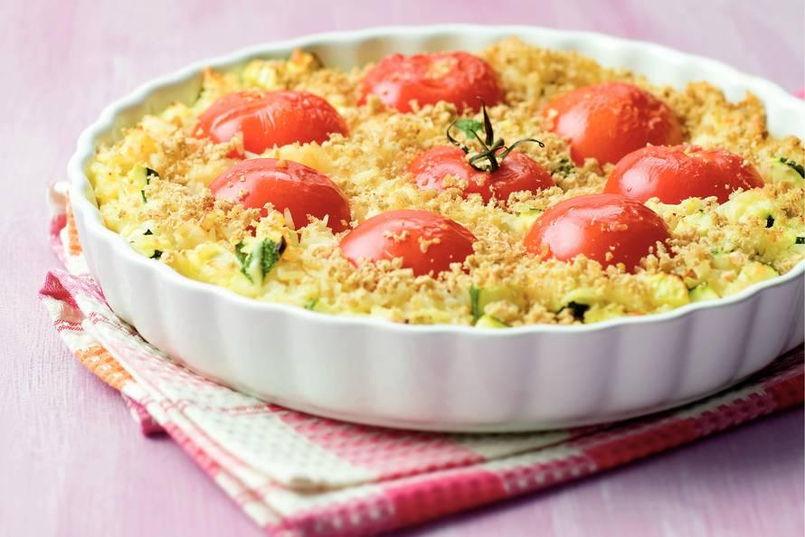 Ovenschotel rijst en tomaten